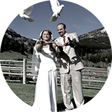 Troy & Lisa -- white doves for their wedding
